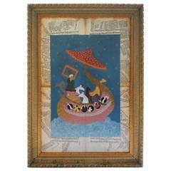 Noah's Ark Painted on Vintage Arabic Papers