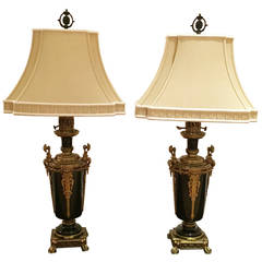 Pair of Bronze and Black French Urn Lamps