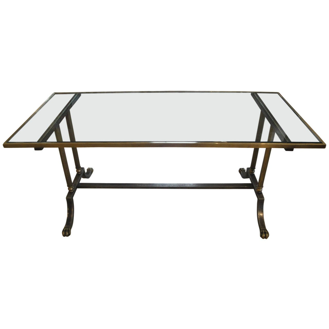 Maison Jansen Coffee Table In Brass And Steel At 1stdibs