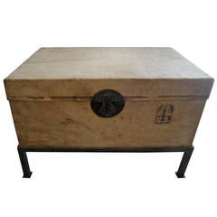 19th Century Chinese Pigskin Trunk on Stand