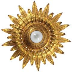 Midcentury Gilt Metal Sunburst Flower Shaped Light Fixture with Green Accents