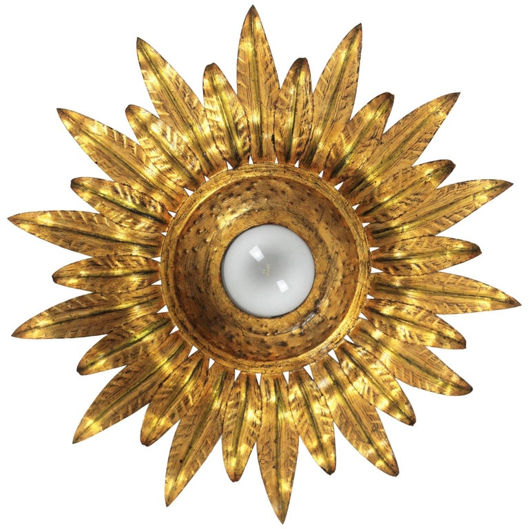 Midcentury Gilt Metal Sunburst Flower Shaped Light Fixture with Green Accents For Sale