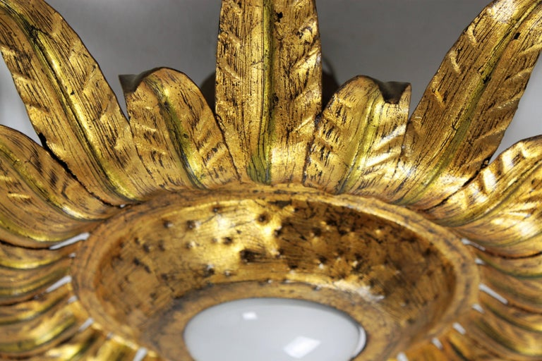 Midcentury Gilt Metal Sunburst Flower Shaped Light Fixture with Green Accents For Sale 1