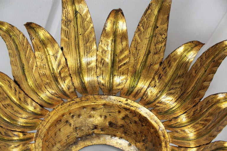 Midcentury Gilt Metal Sunburst Flower Shaped Light Fixture with Green Accents For Sale 2