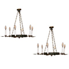 Pair of Tole and Bronze Painted Chandeliers, Will Sell Separately