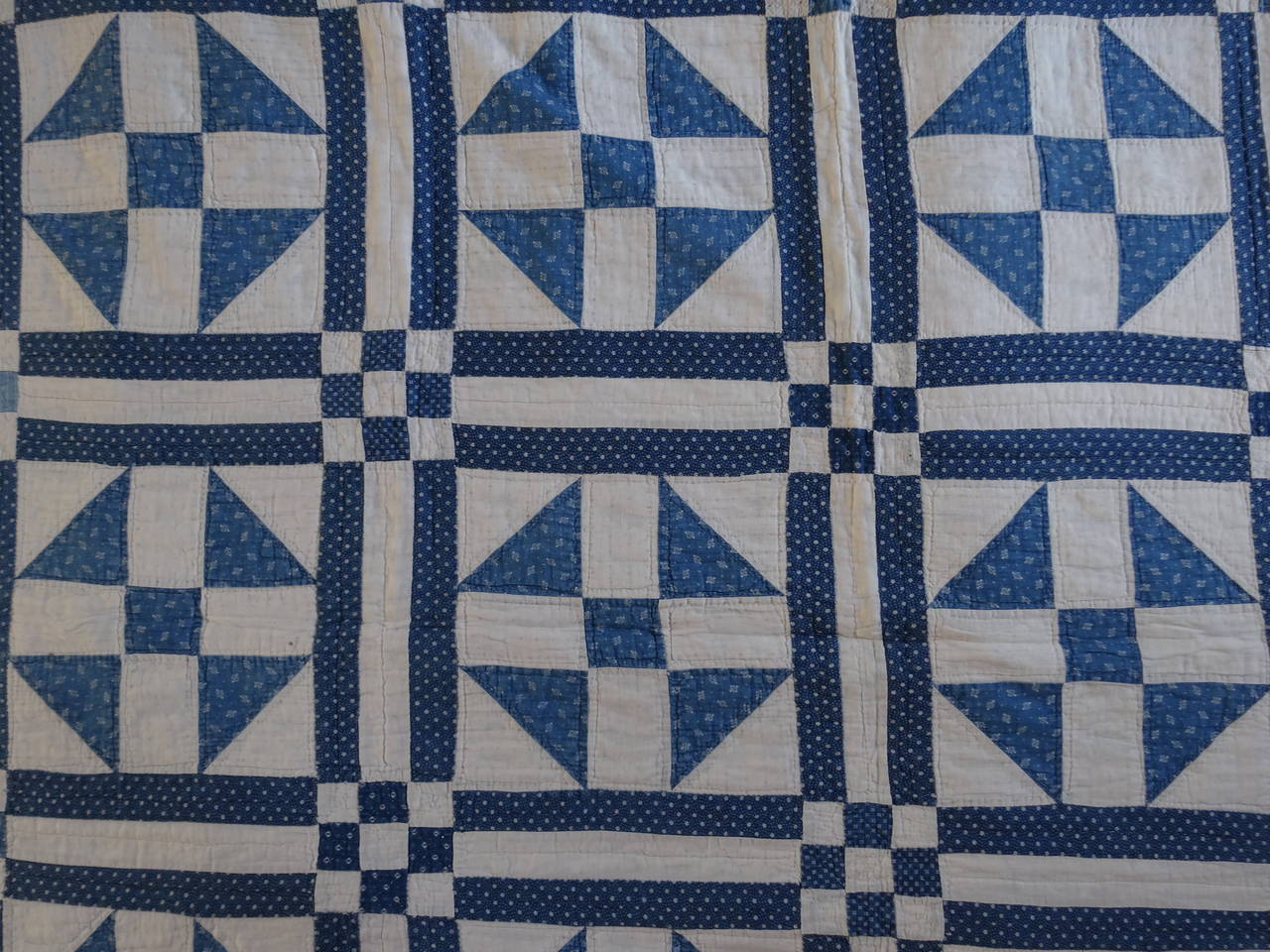 Shoo Fly Quilt Block In A Triple Grid For Sale At 1stdibs