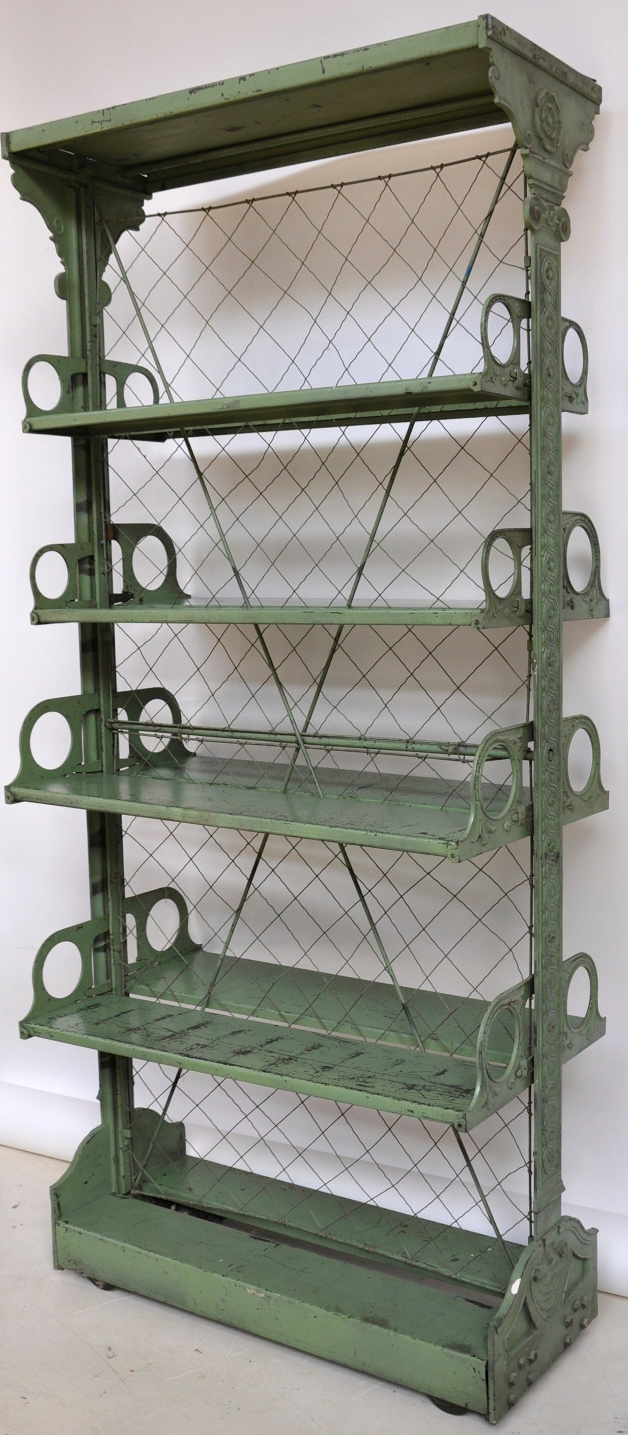 Late Victorian Cast Iron Adjustable Display Shelves For