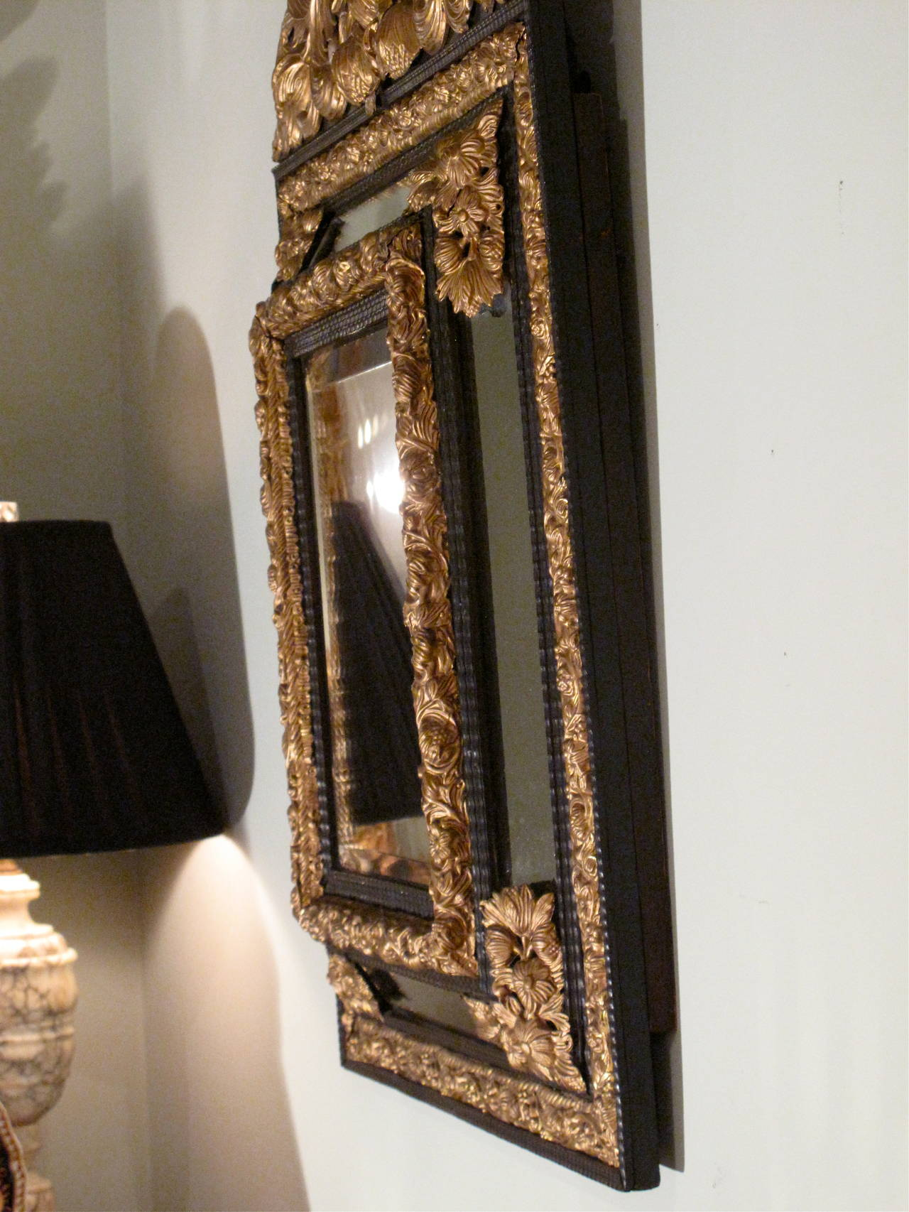 Flemish baroque style cushion mirror at 1stdibs for Baroque style wall mirror