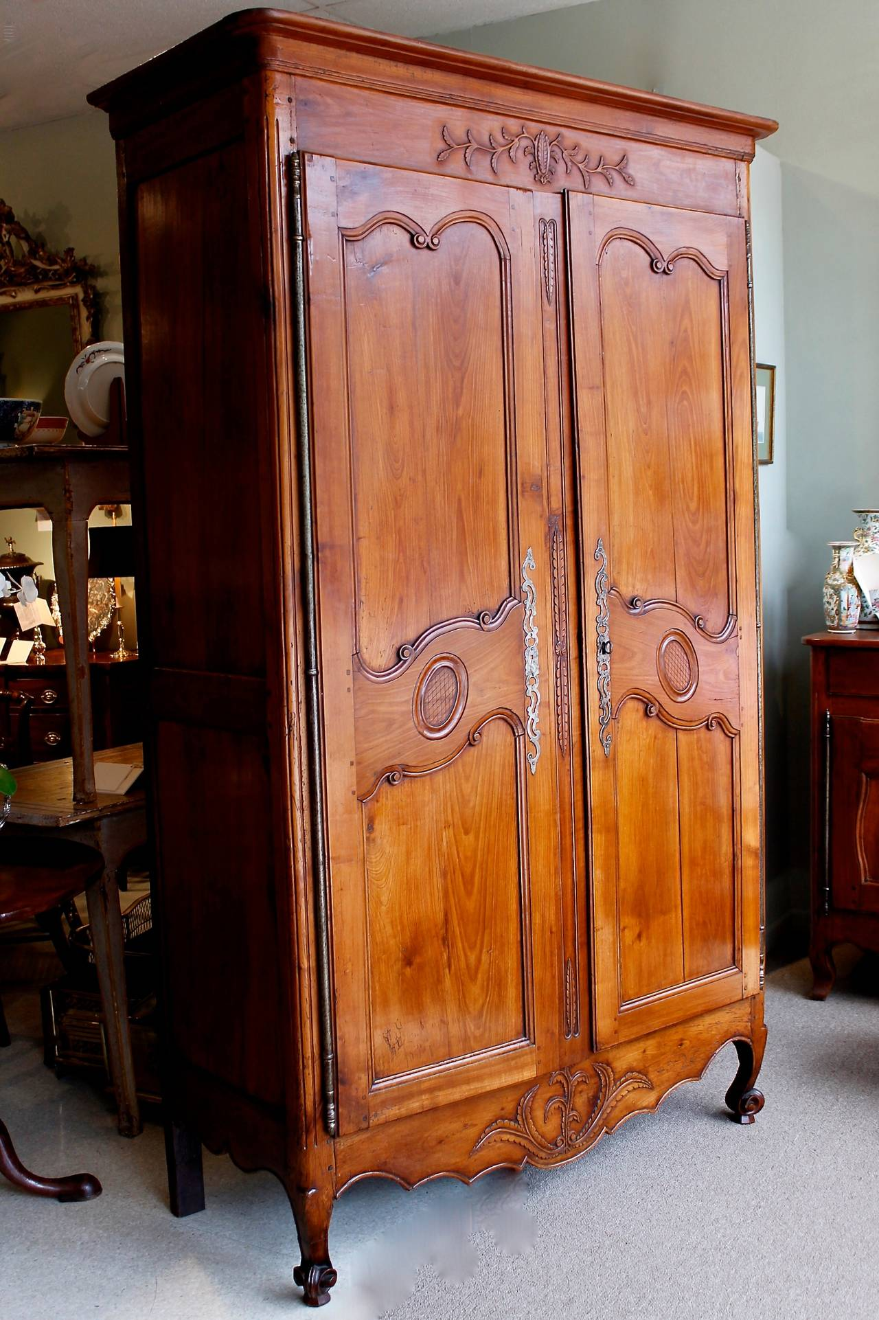 french provincial fruitwood louis xv style armoire at 1stdibs. Black Bedroom Furniture Sets. Home Design Ideas
