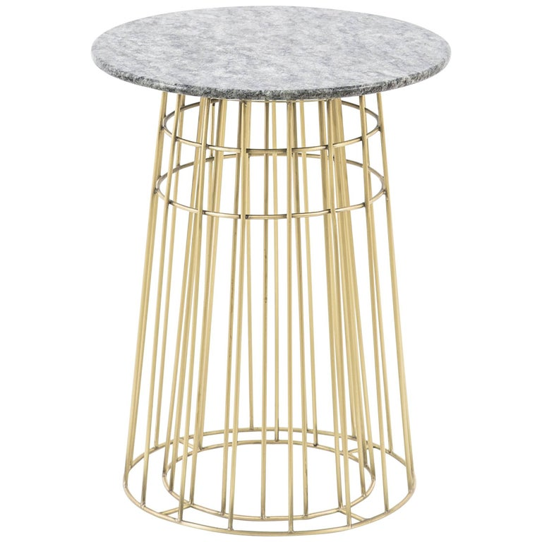 Brushed Contemporary Side Table or Tray Table in Brass and Black Granite For Sale