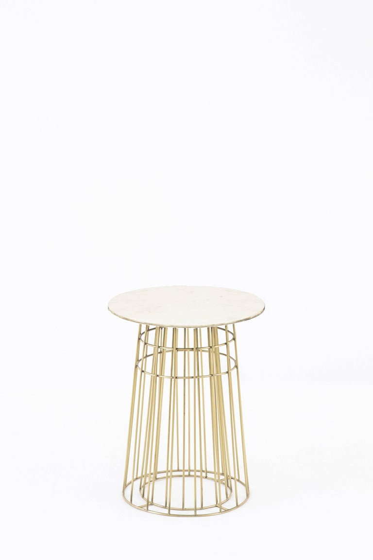 Contemporary Side Table or Tray Table in Brass and Black Granite For Sale 1