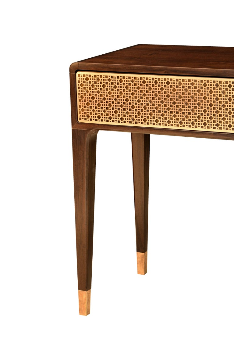 This console table is made with front drawers in laser cut brass plate with customizable patterns (Arabic, deco or customized). Brass in copper, polished, dark or light finishing.