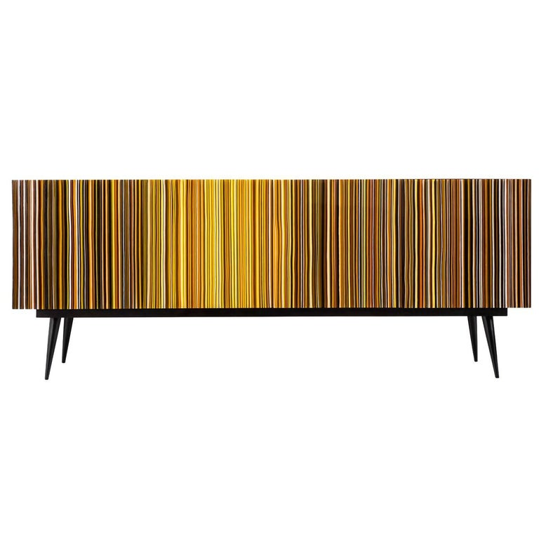 """Retro Style Credenza """"Buff-Heyyy"""", Barcode Warm Colored Glass"""