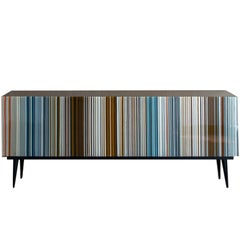 Retro Style Credenza 'Buff-Heyyy', Barcode Warm and Blue Hues Colored Glass