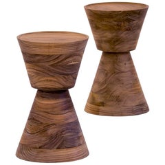 'Rounda' Side Table in Walnut, Contemporary Mexican Design