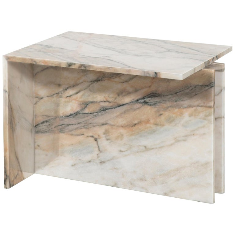 """""""Thè"""" Brazilian Contemporary Side Table or Coffee Table in Marble, in Stock For Sale"""