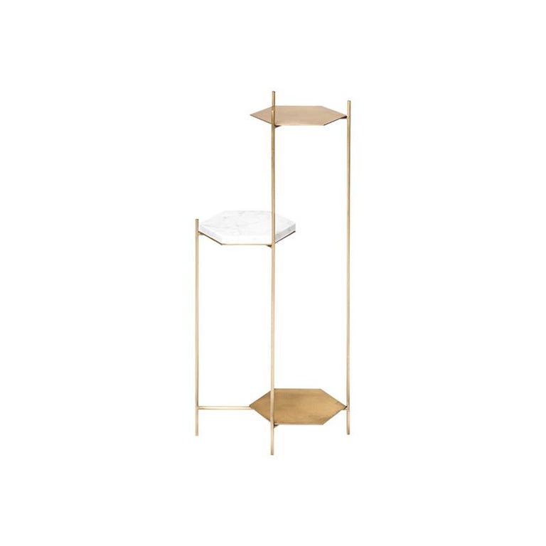 BEE Minimalist Side Table in Brass and Marble by Ries For Sale 7