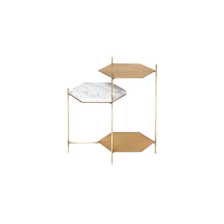 The Bee is a contemporary side table set of hexagonal structures of ethereal character that pretend to be inhabited by multiple objects, creating a Scope where each of them coexist and relate laying in three plans suspended at different heights.