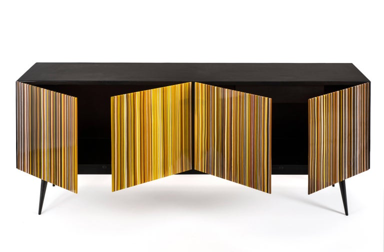 Lacquered Barcode Colored Glass Retro Style Buff-Heyyy Credenza  For Sale