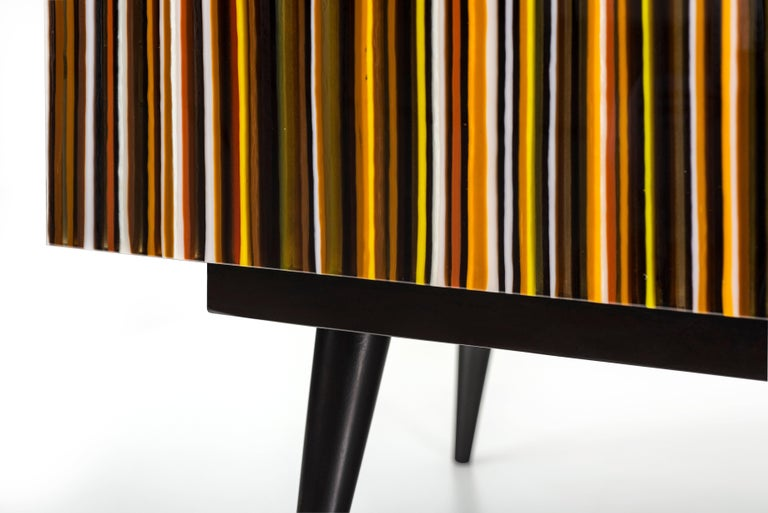 Barcode Colored Glass Retro Style Buff-Heyyy Credenza  In New Condition For Sale In Naucalpan, Edo de Mex