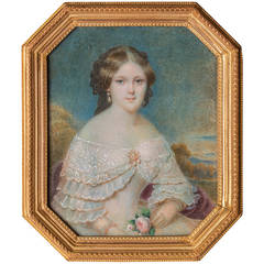 Miniature Portrait of a Young Lady by Thomas Emanuel Peter, Vienna circa 1850