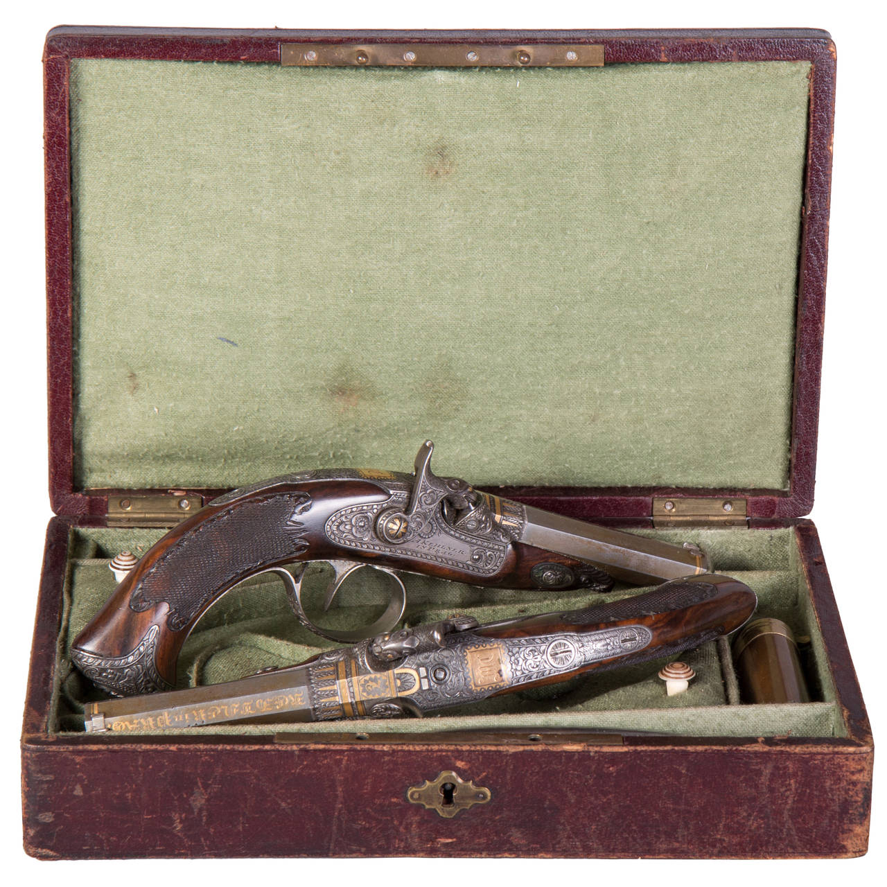 Pair of Cased Percussion Rifled Pistols by Anton Kehlner ...