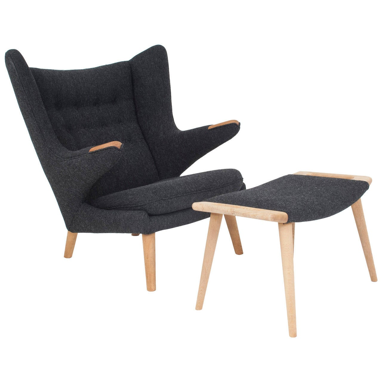 hans j wegner papa bear chair and stool by ap stolen for. Black Bedroom Furniture Sets. Home Design Ideas