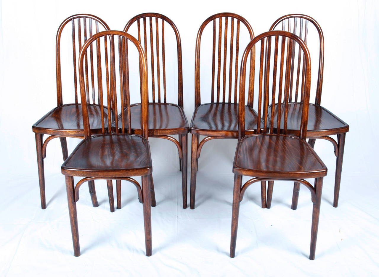 Set Of 6 Thonet Chairs No 644 Designed By Josef Hoffmann For Sale At 1stdibs