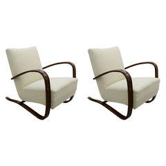 Set of Two Art Deco Armchairs by Jindrich Halabala