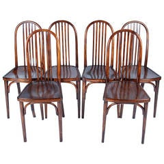 Set of 6 Thonet chairs no. 644 designed by Josef Hoffmann