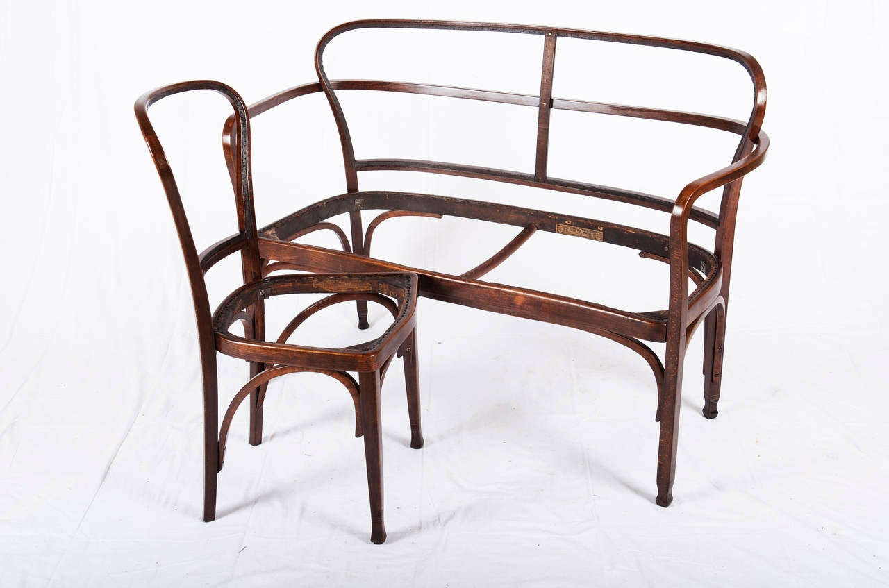 Vienna Secession J. J. Kohn 717 Settee by Gustav Siegel In Excellent Condition For Sale In Vienna, AT
