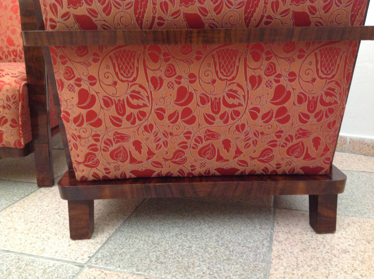 Nutwood Pair of Art Deco Armchairs, circa 1930 For Sale