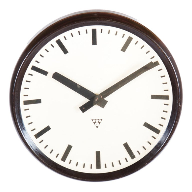 Large Bakelite Factory Industrial, Train Station Wall Clock