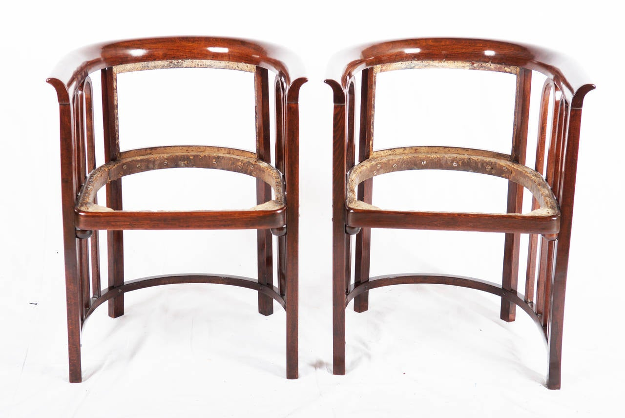 Pair Jacob & Josef Kohn Austria Armchairs attributed to Josef Hoffmann In Excellent Condition For Sale In Vienna, AT
