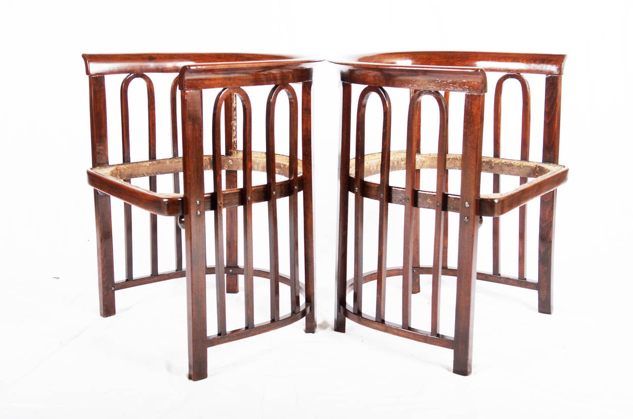 Pair of Jacob & Josef Kohn Austria Armchairs attributed to Josef Hoffmann. The wood is already restored walnut stained and shellack polished. The upholstery will be done on request to the potential buyer in leather of fabric.