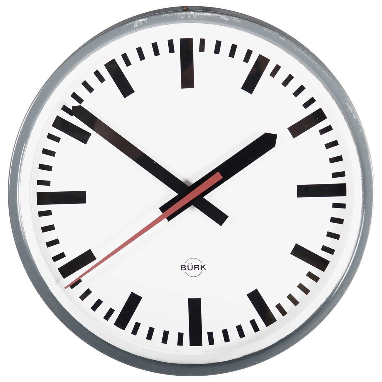 Large German Industrial Clock, Labeled Bürk