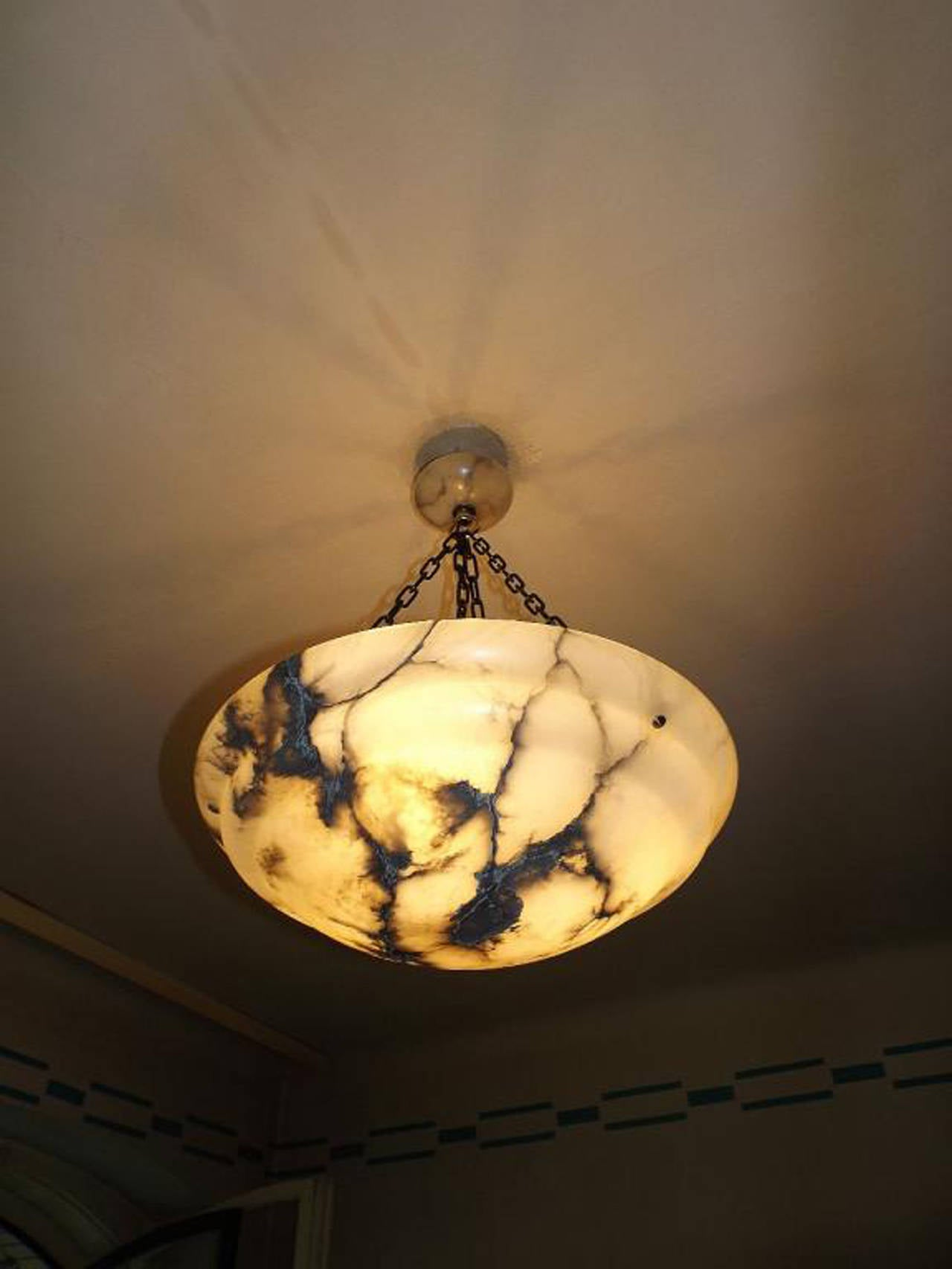 French Art Deco Alabaster Chandelier at 1stdibs