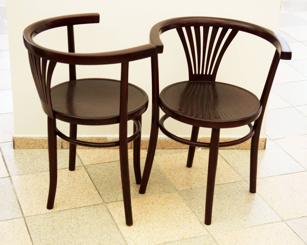 Austrian Pair of Thonet Armchairs For Sale