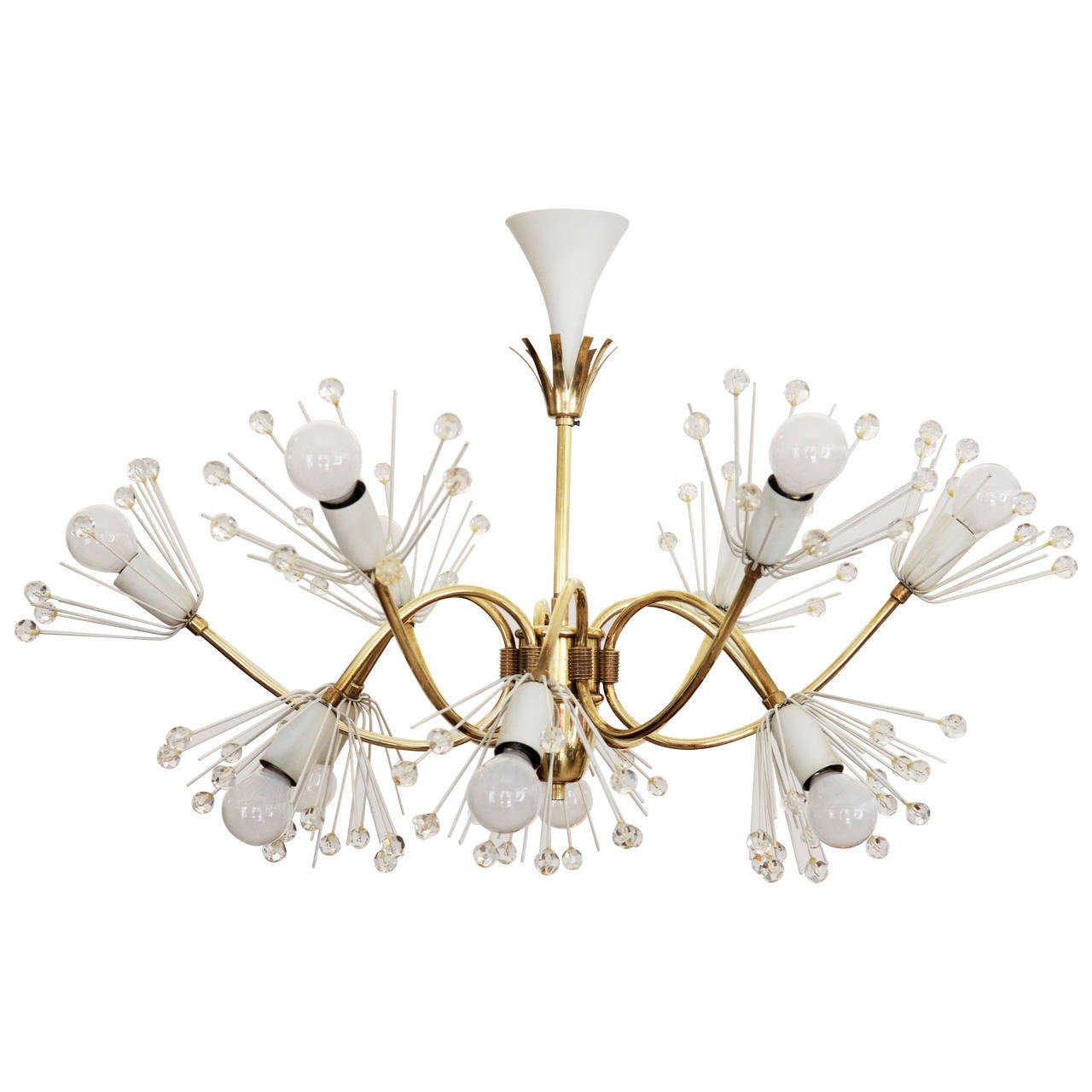 Large Snowflakes Chandelier by Emil Stejnar for Rupert Nikoll Vienna For Sale