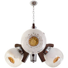 Three Mazzega Globes Murano Chandelier