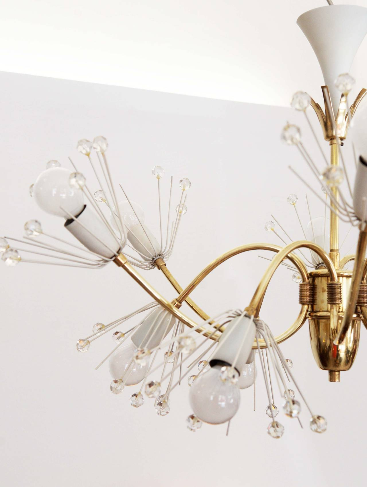 Mid-Century Modern Large Snowflakes Chandelier by Emil Stejnar for Rupert Nikoll Vienna For Sale