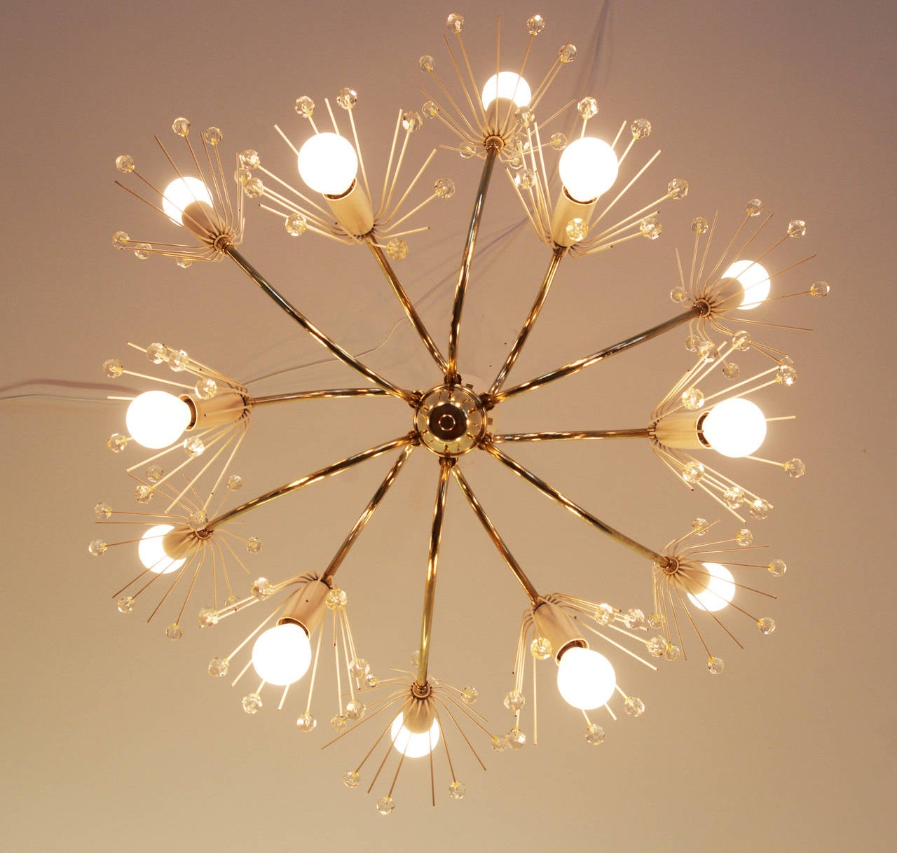 Brass Large Snowflakes Chandelier by Emil Stejnar for Rupert Nikoll Vienna For Sale