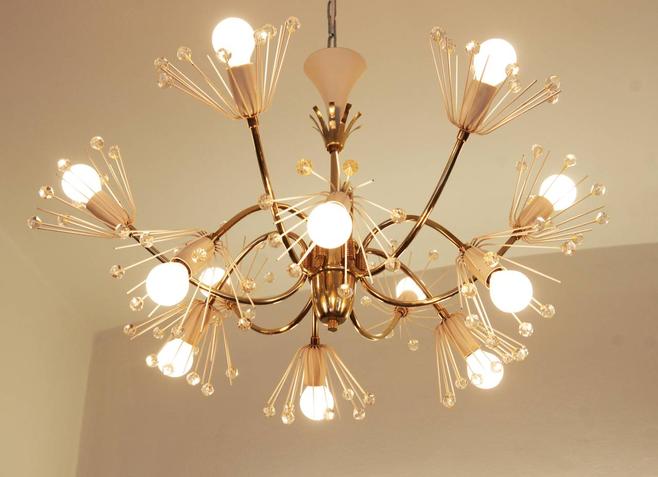 Large Snowflakes Chandelier by Emil Stejnar for Rupert Nikoll Vienna For Sale 1