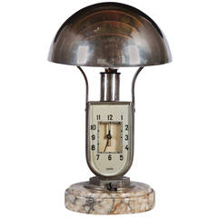 Art Deco Mofem Table Lamp with Integrated Alarm Clock