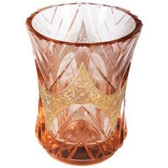 Art Deco Bohemian Crystal Glass Vase