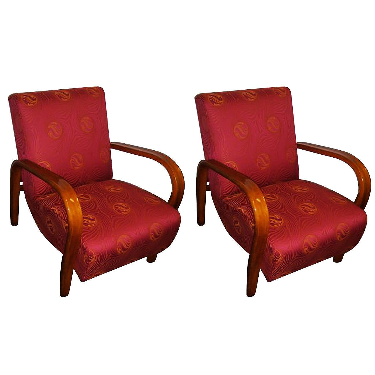 A Pair Of Art Deco Armchairs By Jindrich Halabala