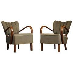 Pair of Jindrich Halabala H-237 Art Deco Armchairs
