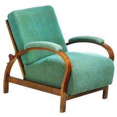 Art Deco Armchair with Adjustable Backrest