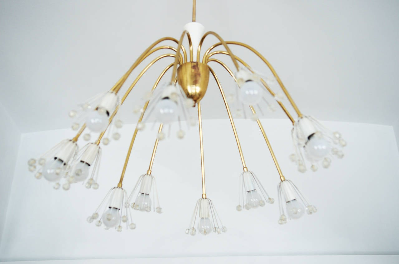 Mid Century Modernist chandelier by Emil Stejnar for Rupert Nikoll Original condition. Dimention: diameneter: 70cm (27.55in) height 80cm (31.49in)  delivery time: 1-2 weeks