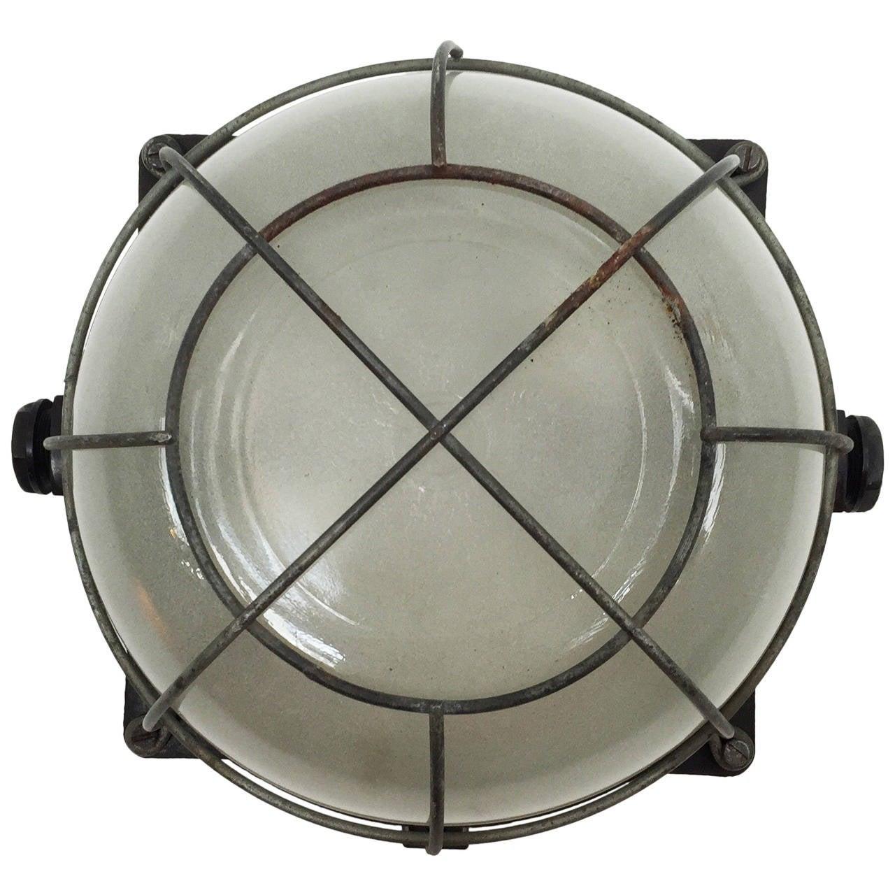 Bakelite Wall or Ceiling Industrial Lamp from 1940s